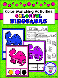Color Matching Activity - Colorful Dinosaurs