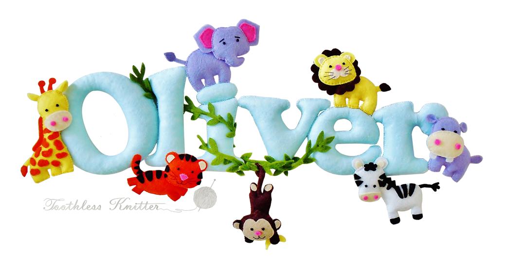 Felt Baby Name Banner for Nursery / Filcowy Baner Imienny do Pokoju Dziecięcego