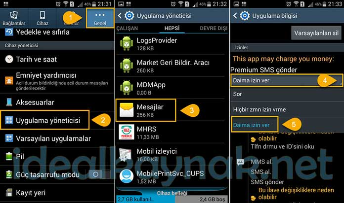 Samsung 4 Haneli Numaralara Mesaj Gönderme Sorunu Çözümü