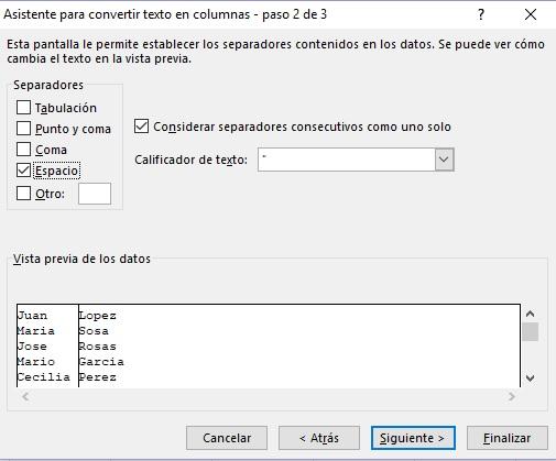 Asistente para convertir texto en columnas Microsoft Excel