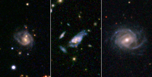Three examples of super spirals are presented here in images taken by the Sloan Digital Sky Survey. Credits: SDSS