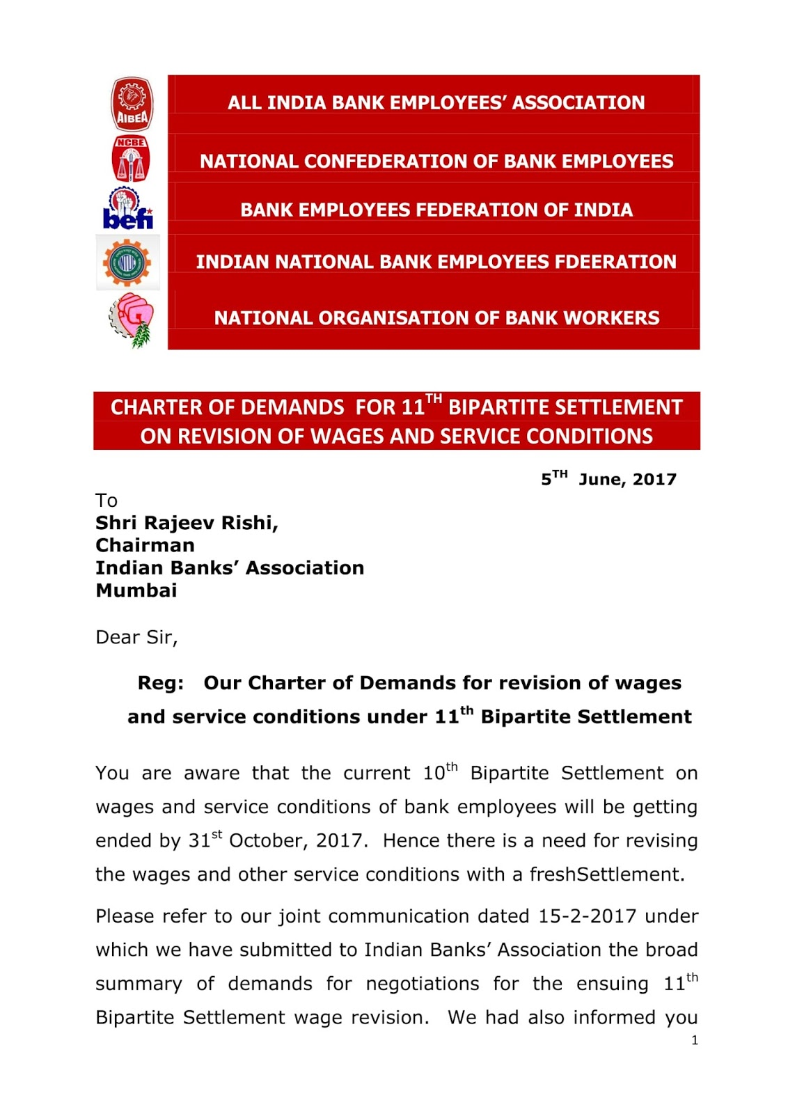 Common Charter of Demands for 11th Bipartite Settlement given to IBA by AIBEA, NCBE, BEFI, INBEF, NOBW