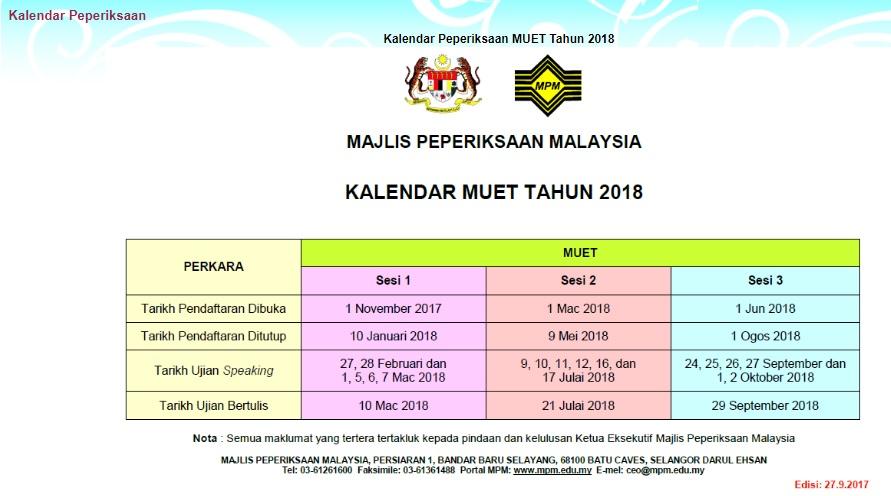 Kalendar MUET 2018 Jadual peperiksaan dan pendaftaran