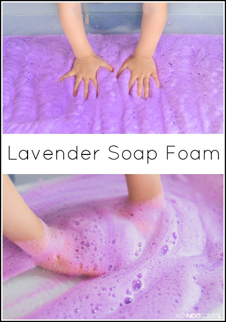 Calming lavender scented soap foam sensory play for kids from And Next Comes L