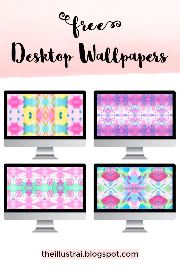 Download these free watercolor kaleidoscope patterned desktop wallpapers for the month of April.