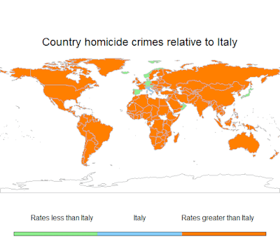 Map of the world depicting countries in green which have a homicide rate less than Italy.