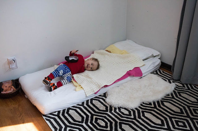 Thoughts about using a Montessori floor bed with a young toddler.