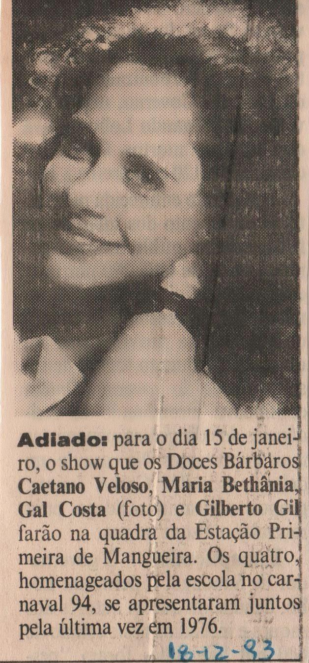 9d504f28d Caetano Veloso ...en detalle.  1994 - DOCES BÁRBAROS na Mangueira - Show