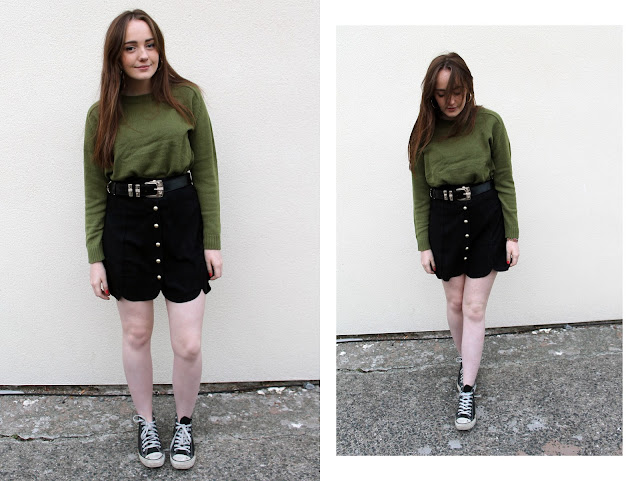 khaki green H&M jumper, boohoo black and gold western style belt, boohoo boutique black suede scallop edge button down mini skirt and black high top converse