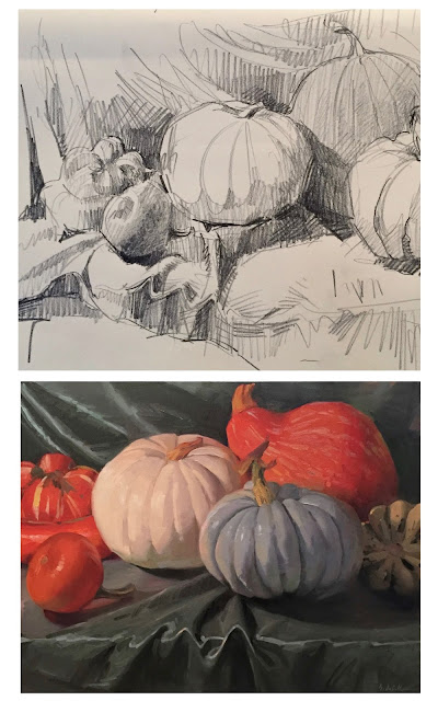 sketch to finish pumpkin squash drawing painting