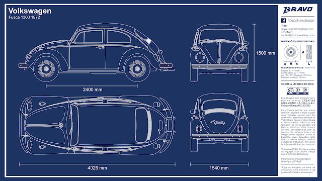 Imagem mostrando o desenho do blueprint do Volkswagen Fusca 1300 1972