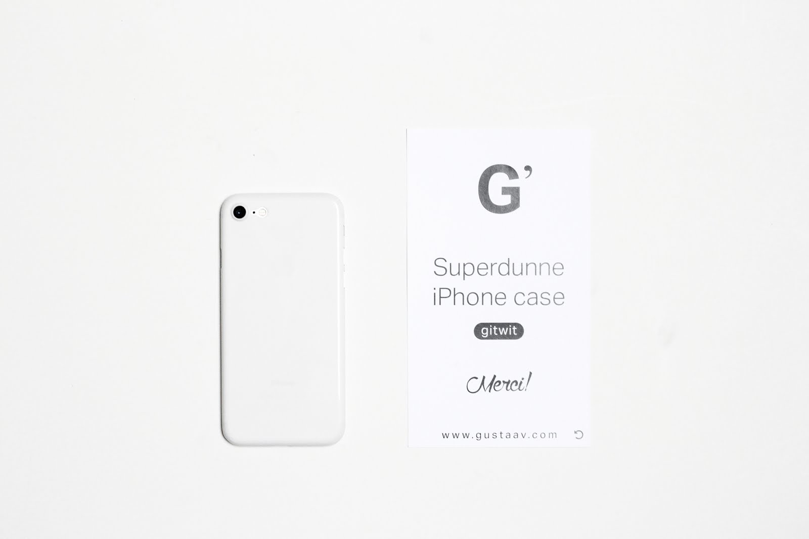 Iphone 7 case, minimal, invisible, white, gitwit, super thin, super dun, minimalisten, effen, Gustaav