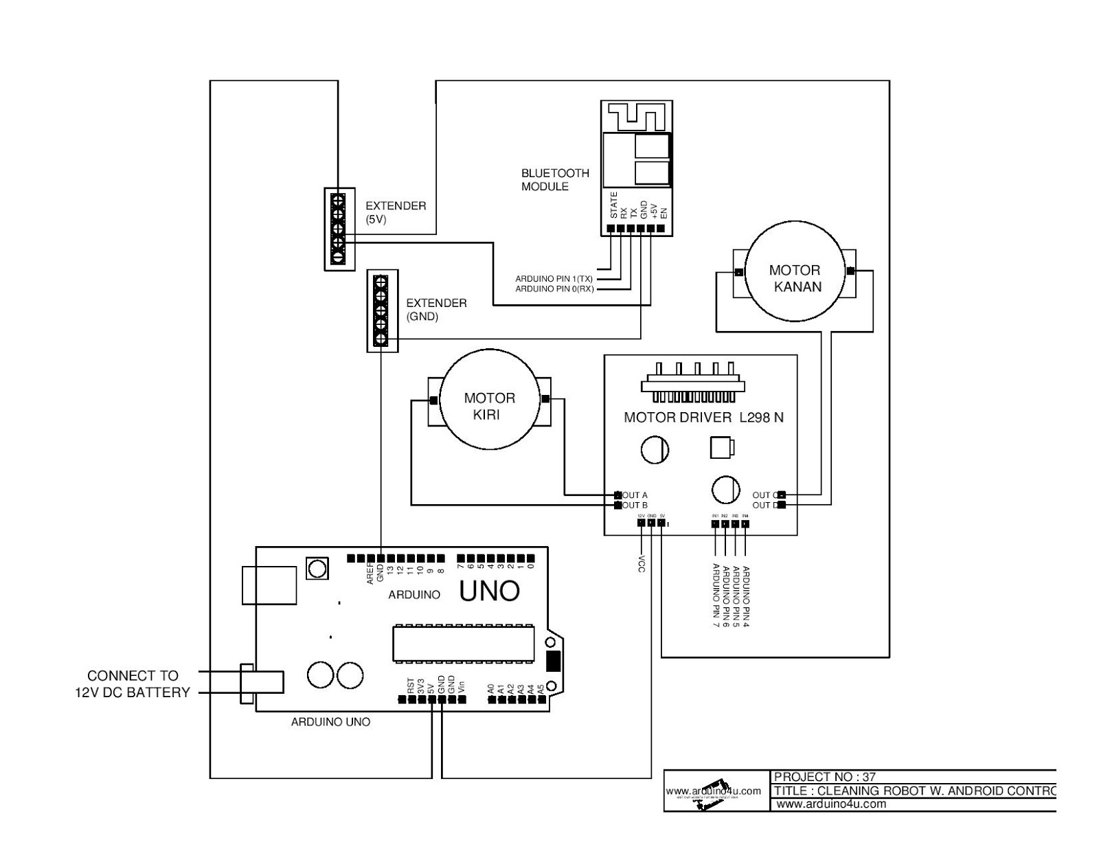 Projek Elektronik Arduino4u.com: 37.Cleaning robot with