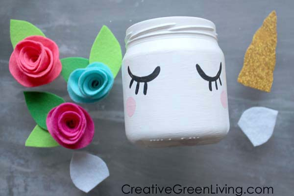 Kawaii unicorn mason jar craft