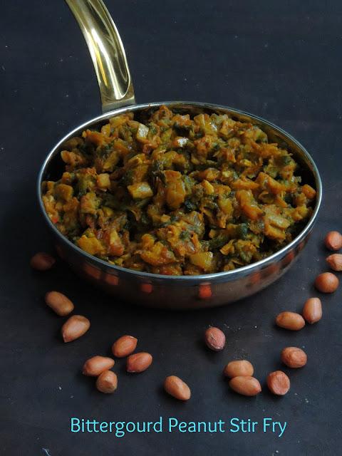 Bittergourd Peanut Stir Fry, Pavakkai Verkadalai Masala