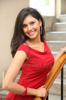 Mounika Telugu Actress in Red Sleeveless Dress Black Boots Spicy Pics 064.JPG