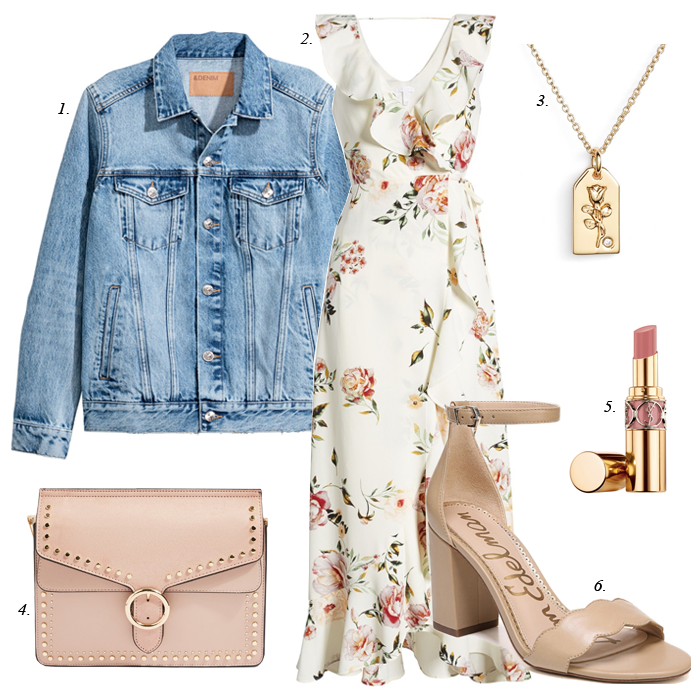 denim jacket, nordstrom floral dress, sam edelman sandals