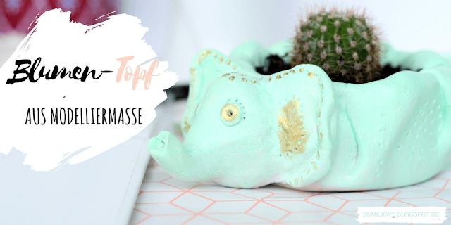 DIY Deko Elefant: Blumentopf aus Modelliermasse