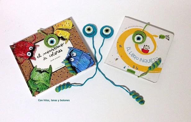 Con hilos, lanas y botones: Marca-páginas monstruosamente divertidos
