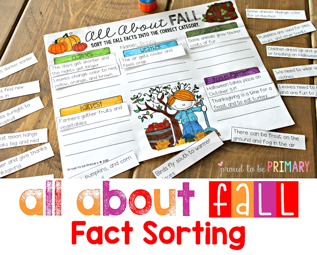 fall lesson plans - fact sorting