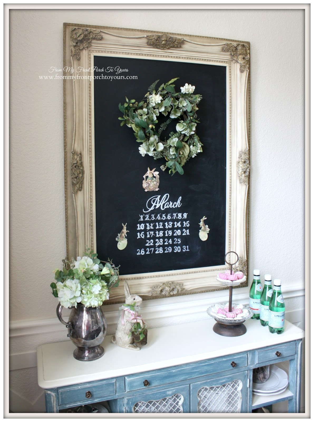 Dining room Chalkboard-French Farmhouse Easter Dining Room- From My Front Porch To Yours