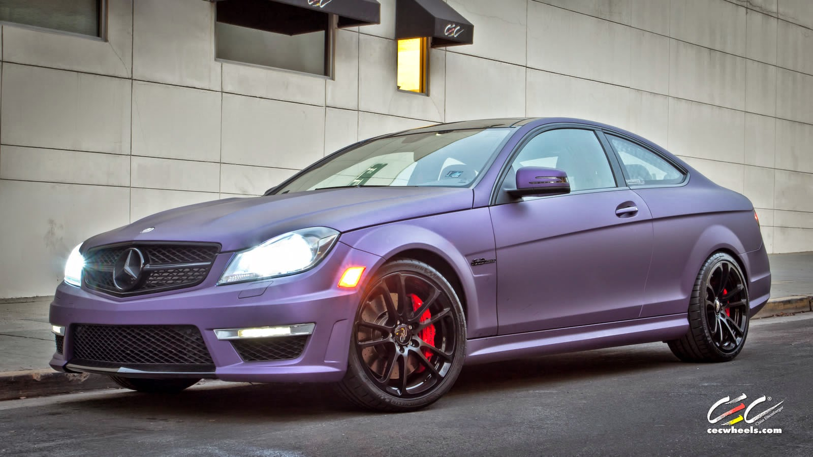 mercedes benz w204 c63 amg coupe purple matte on cec wheels benztuning. Black Bedroom Furniture Sets. Home Design Ideas