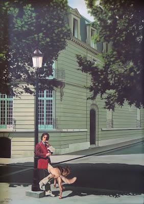 Fernando S. M. Félez arte hiperrealista hombre y perro en la calle pintura