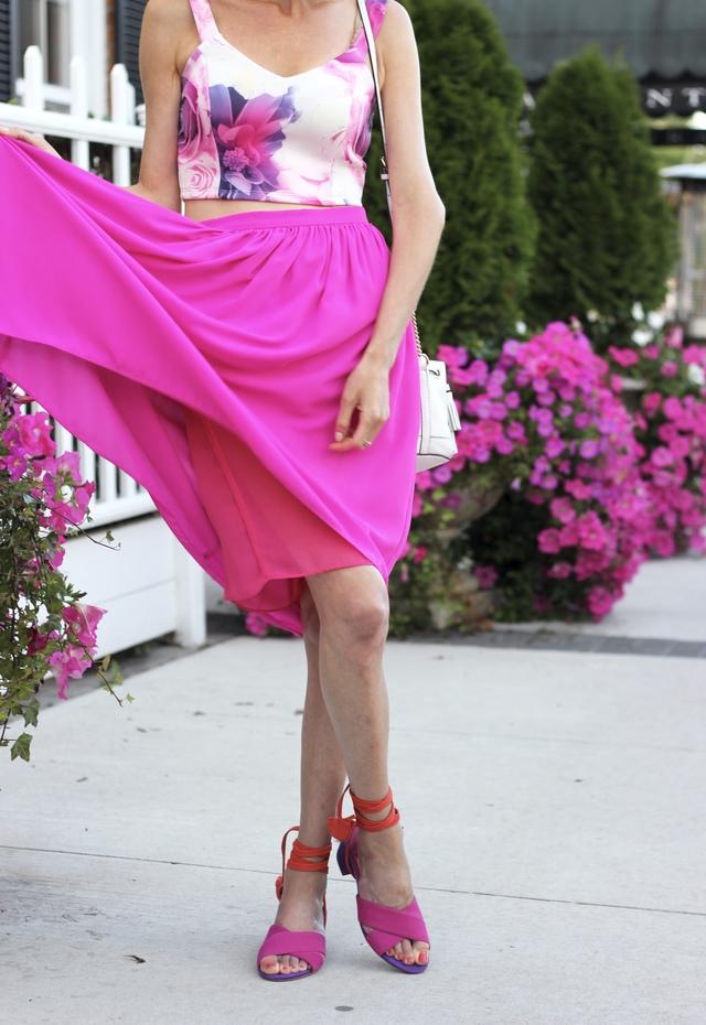 Fuchsia floral crop top, fuchsia satin midi skirt, B Brian Atwood Astor pink heels, Pink drop earrings, Summer Style, fuchsia colour block