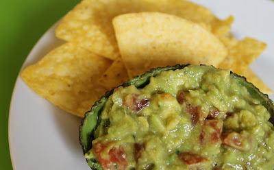 guacamole served in an avocado skin