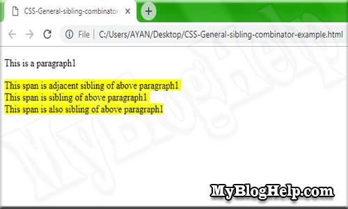 CSS General sibling combinator