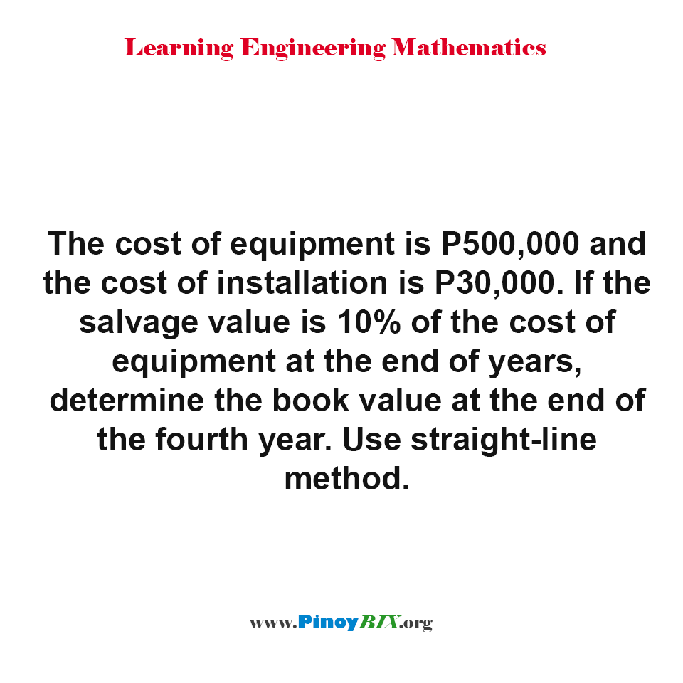 Determine the book value of the equipment  at the end of the fourth year