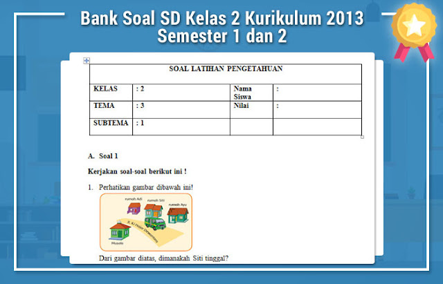 Bank Soal SD Kelas 2 Kurikulum 2013 Semester 1 dan 2