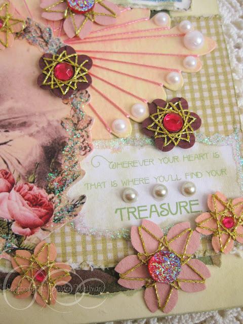 Handmade card with paper flowers by Ingeborg van Zuiden