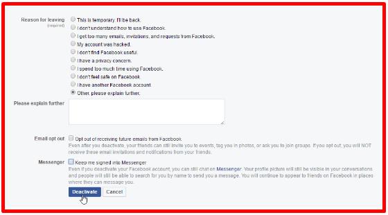 Deactivate Facebook Account Permanently