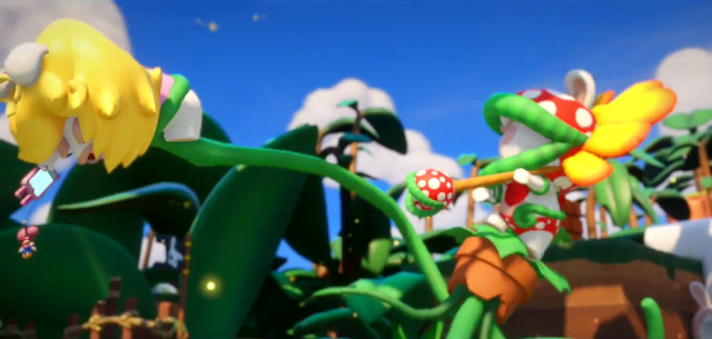 Mario + Rabbits Kingdom Battle Petey Piranha Peach tentacle kidnap