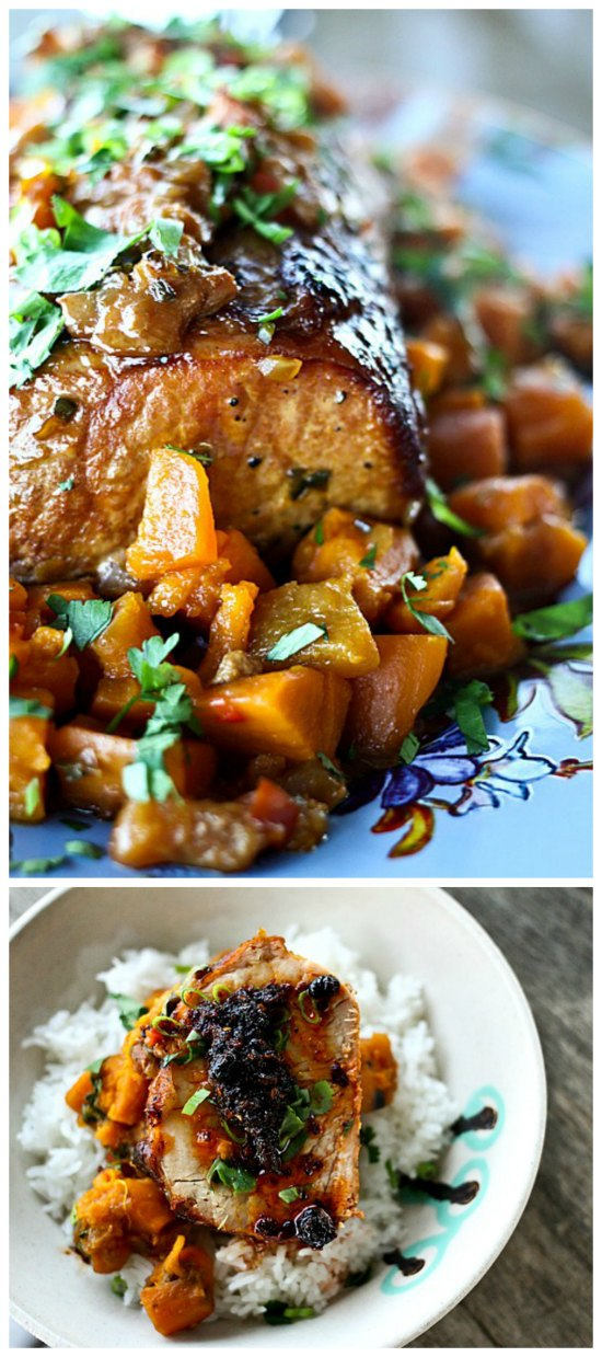 Slow Cooker Peach Salsa Pork Roast with Sweet Potatoes from Foodie with Family featured on SlowCookerFromScratch.com