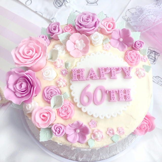 Fondant Roses Floral 60th Birthday Cake