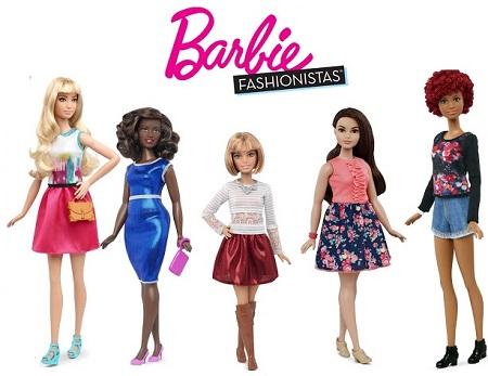 Formatos de corpo das novas  Barbie Fashinistas coleção 2016