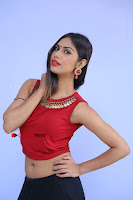 Telugu Actress Nishi Ganda Stills in Red Blouse and Black Skirt at Tik Tak Telugu Movie Audio Launch .COM 0052.JPG