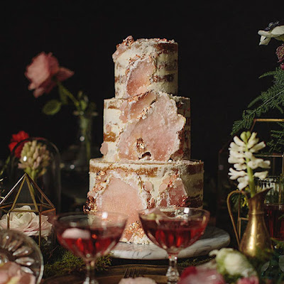 K'Mich Weddings - wedding planning - wedding gold and pastel geode rustic cake - Candy Cake Weddings