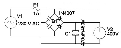 230 V AC To 400 V DC Power Supply Circuit Diagram