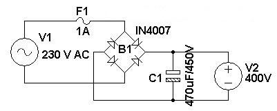230 V AC To 400 V DC Power Supply Circuit Diagram