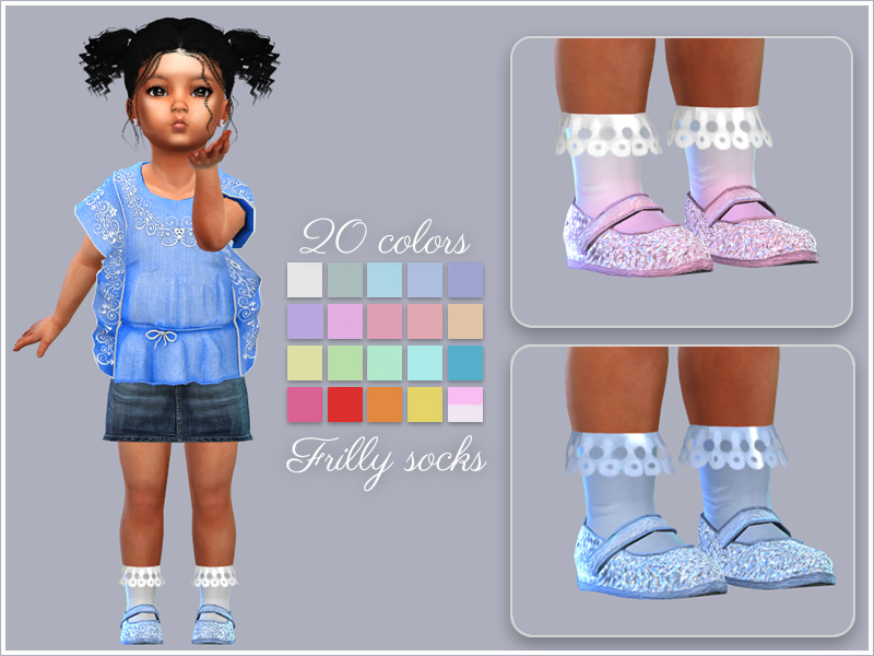 Детские аксессуары Frilly-socks-toddlers-20colors