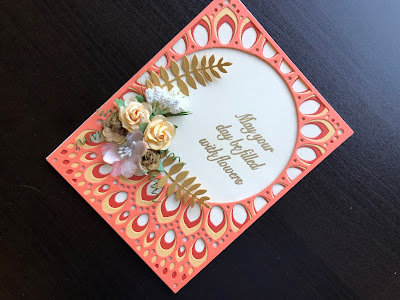 Hand made card die cut with the Birch Press Grace die, decorated with paper flowers and a stamped and embossed greeting.