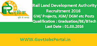 Rail Land Development Authority Recruitment 2016