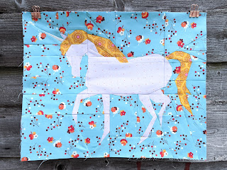 unicorn with flower fabric print background foundation paper pieced quilt block