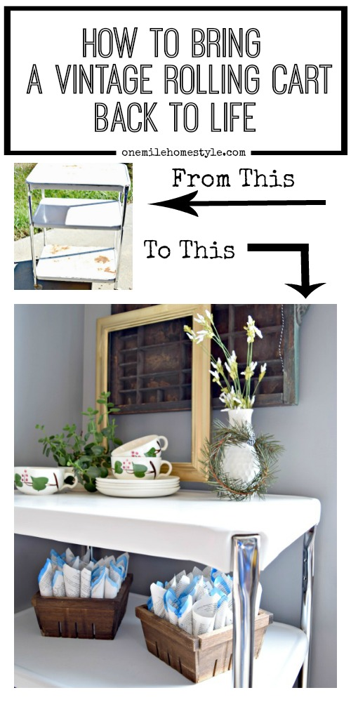 How to restore a rusty vintage 3 shelf rolling cart back to it's original glory