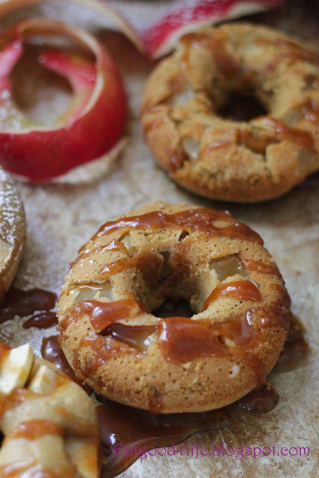 Baked Apple And Caramel Rustic Donuts Eat Good 4 Life