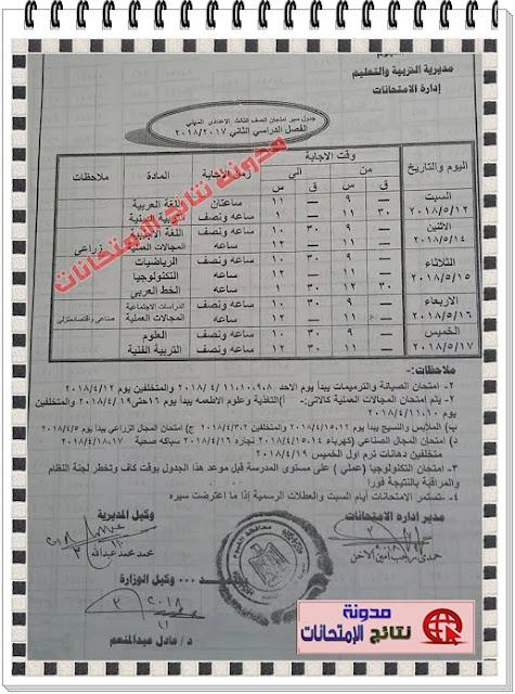 جدول إمتحانات الصف الثالث الاعدادى بمحافظة الفيوم 2018 أخر العام (الفصل الدراسى الثانى)