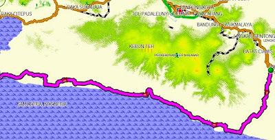 Rencana rute perjalanan Tasikmalaya-Ujung Genteng